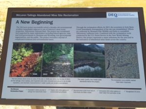 Picture of McLaren Tailings reclamation site are detailed on this placard.